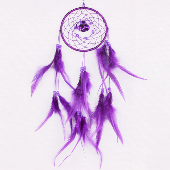 niceEshop Dream Catcher Dreamcatcher Feathers with a Small Bell Wall Hanging Decor,Purple