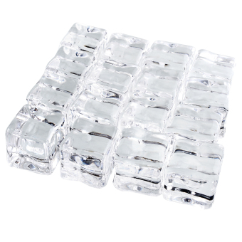 Harga OEM Clear 16pcs Fake Artificial Acrylic Ice Cubes Barwar Display Bed Home Decor