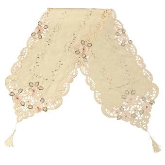 Detail Gambar Flower Table Runner Table Mat Tablecloth Wedding Party Home Decorative - intl Terbaru
