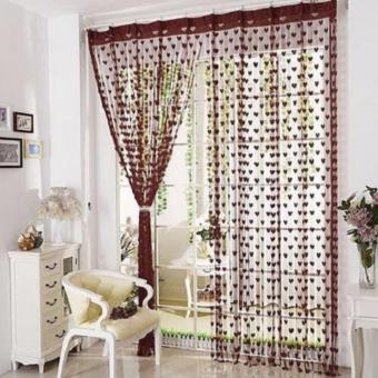 LARIS49 Tirai Benang Pintu Dan Jendela Cantik Motif Love - Coklat Tua