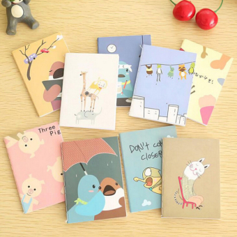 2Pcs Portable Cute Cartoon Notepad Memo Kraft Paper Diary Notebook Exercise Book - intl