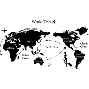 Harga Blackhorse World Trip Travel Map Wall Sticker Home Decor (Black)