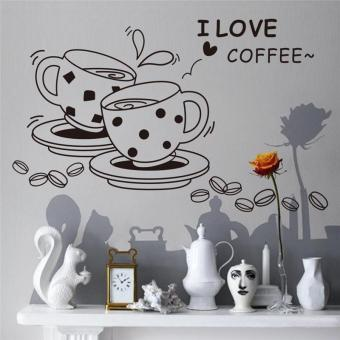 Harga i love coffee cup living room wall stickers kitchen room mural art vinyl home decor - intl