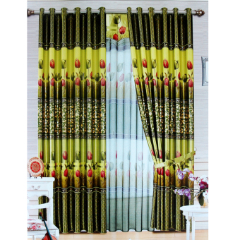 Harga Alona Ellenov Gorden Import Black Out Latulip 9018-2 - Hijau