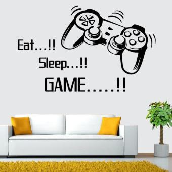 Harga Eat Sleep Game wall stickers gamer Boys Bedroom Home Decoration Wall decor - intl