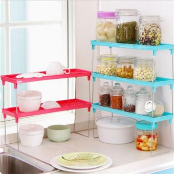 Harga Feng Sheng Foldable Stackable Storage Shelf Rack Home Kitchen Bathroom Desk Organizer - intl