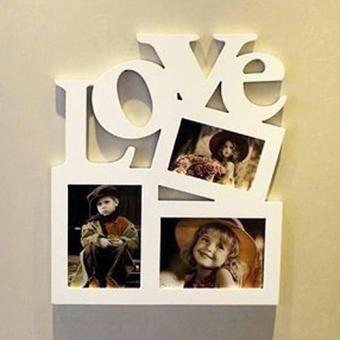 Sanwood 3 in 1 White Hollow Love Wooden Family Picture Photo Frame DIY Art Decor Frame