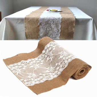 275 x 30CM Khaki Flower Lace Vintage Burlap Linen Table Runner Wedding Decor- intl