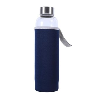 Harga 550ML Water Glass Bottle Sports Mug Cup with Tea Filter Dark Blue - intl