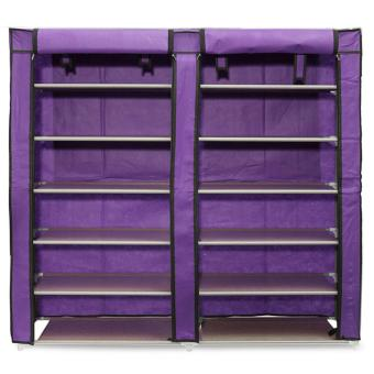 Harga Double Shoe Rack 7th 12 Layers with Dust Cover - Rak Sepatu - Purple