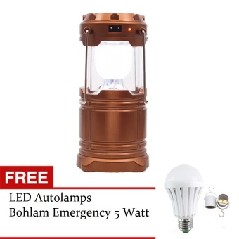 Harga Lucky - Lampu Emergency Lentera Powerbank Solar - Gold + Gratis LED Autolamps Bohlam Emergency 5 Watt