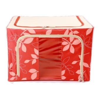 Oxford Box Steel Frame Fabrics Foldable Storage Box - 66L - Merah