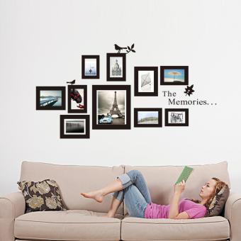 Cermin diri perekat stiker 6 buah persegi kertas dinding. 10 x pasang gambar bingkai foto