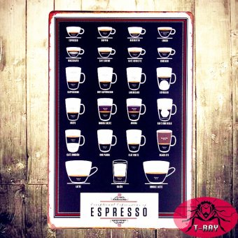 T-ray Types Of Espresso's Cup Metal Tin Sign Bar Pub Wall Decor Poster Cafe Art - Intl ...