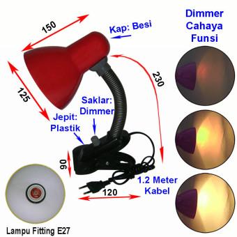 Jiamei Lampu Meja Baca Belajar Jepit Dimmer JM 108D Ungu 4 .