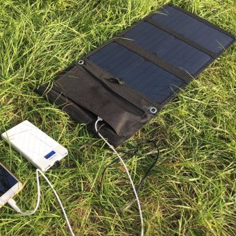GBtiger 21W Dual USB Portable Sunpower Solar Charger Panel Power Emergency Water Resistant .