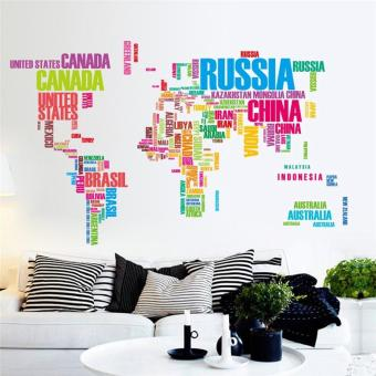 Harga creative colorful english letters world map wall stickers living room decals study room decorations bedroom mural art posters - intl