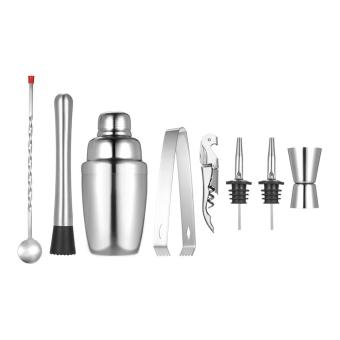 8pcs Stainless Steel Professional 350ml Cocktail Shaker Mixer Kit with Muddler Corkscrew Jigger Ice Tongs Mixing Spoon Pourers Bartender Set Home Bar Tool - ...