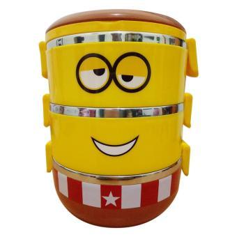 Lunch box rantang susun 3 stainless steel karakter - kuning coklat