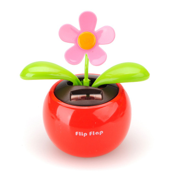 Flip Flap Solar Powered Flower Flowerpot Swing Car Dancing Toy (Red) ...