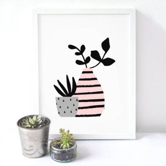 Cartoon Pot Plant Canvas Art Print Painting Poster, Wall Pictures for Home Decoration, Home Decor S16022-2 - intl