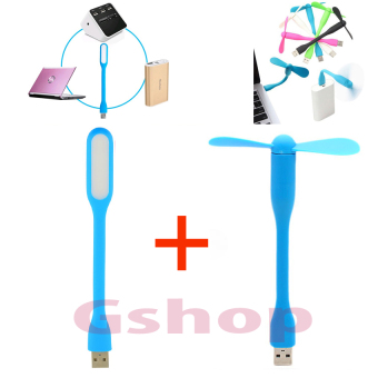 Harga Gshop Lampu Baca LED USB LED Flexible Lamp Light + Mini Fan USB Portable / USB Portable Fan