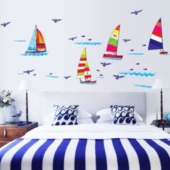 Harga Kawaii Removable Kids Room Bath Background Home Decor Vinyl Art Sailing Wall Stickers Decal Wallpaper For living Room Bedroom - intl