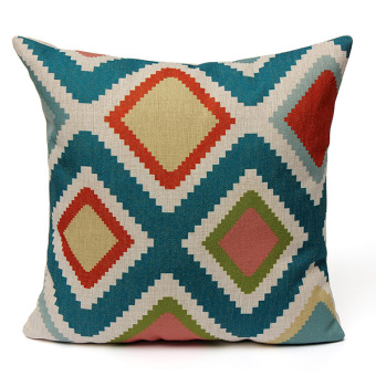 Vintage Geometric Waves Ripple Home Linen Throw Pillow Case Sofa Cushion Cover - Intl
