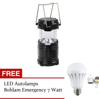 Harga Lucky - Lampu Emergency Lentera Camping Powerbank Solar - Hitam + Gratis LED Autolamps Bohlam Emergency 7 Watt