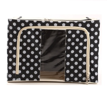 Oxford Box Steel Frame Oxford Fabrics Foldable Storage Box - 66L - Big Polkadot Hitam