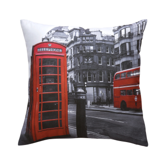 Harga 45x45CM Printed Red Telephone Booth London Street Modern Sofa Pillowcases