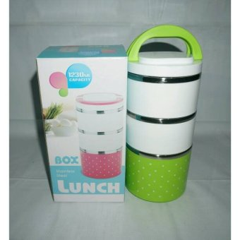Harga lunch box stainless 3susun polkadot