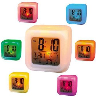 Harga Moodicare Jam Unik 7 Warna LED / Digital Alarm Clock Color Change