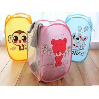 Harga Cartoon Folding Dirty Clothes Basket keranjang Kotor Lipat Kartun pink
