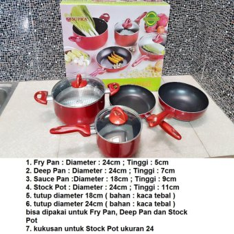 Harga Supra Rosemary Cookware - Supra Panci Set 7pcs Red
