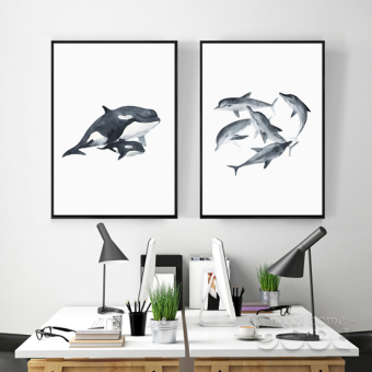 2PCs/Set Watercolor Whale Canvas Art Print Painting Poster, Wall Pictures for Home Decoration, Home Decor S16017CMP - intl