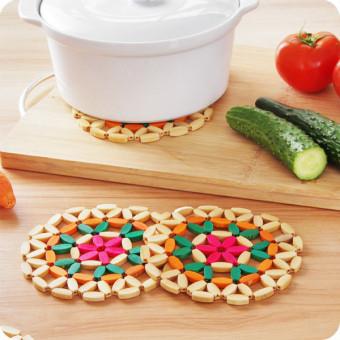 7 buah anti slip warna bambu cangkir piring mangkuk isolasi bantalan tatakan meja dapur