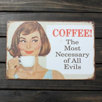 Metal Poster Pub Wall Decor Tavern Shabby Chic Bar Club Vintage Sign Tin Plaque(Coffee