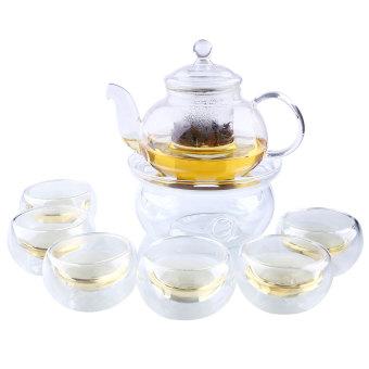 Clear Borosilicate Glass Tea Pot Set w/ Infuser Teapot+Warmer+6 Tea Cup ...