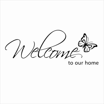 "Harga Removable PVC Wall Sticker ""Welcome to Our Home"" Words Butterfly"