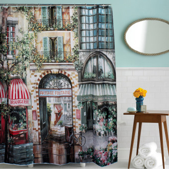 Harga 180x200cm French Street Shower Curtains Bathroom Waterproof Vintage Polyester- intl