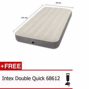 Harga Intex-Kasur Angin Twin Deluxe Single High Airbed 64707 Free Pompa Intex 68612