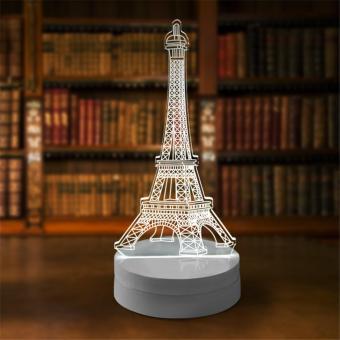Lampu 3D LED Transparan Desain Eiffel Tower - White ...