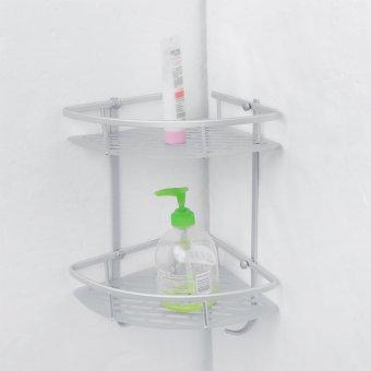 Ruang segitiga dinding aluminium kamar mandi sampo sabun mandi kosmetik rak dua lapisan 4