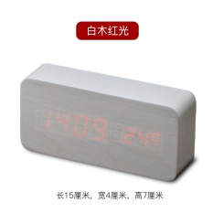 Jam Kayu Jam Digital Bercahaya Bisu Anak Kreatif LED Elektronik Suara Tempat Tidur Kayu Jam-Putih Kayu Glow-Intl