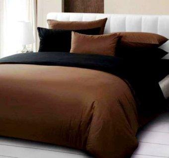 Jaxine Bed Cover Katun Prada Polos - Cokelat-Hitam. >>>>