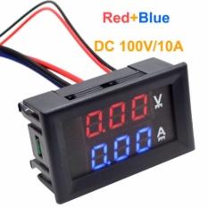 Jingle DC 100 V 10A Voltmeter Ammeter Biru + Merah LED Dual Digital Volt Amp Meter Gauge