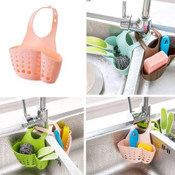 ... Kitchen Hanging Drain Basket Bath Storage Gadget Tools Sink HolderPortable Blue - intl - 5