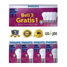 Lampu LED bohlam Philips 10,5W/watt beli 3 gratis 1 putih