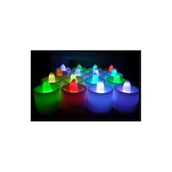 Lampu Lilin elektrik LED tanpa api mini menyala warna natal - 3